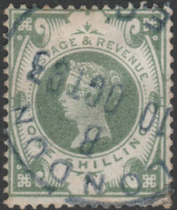 1887-JUBILEE-SG211-1s-DULL-GREEN-RARE-BLUE-LONDON-CDS-FINE-USED