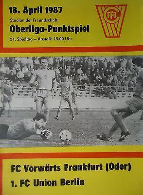 Wismut Aue Programm 1986//87 Union Berlin