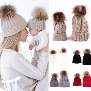 b065116300f 2Pcs Mother Child Baby Women Warm Winter Knit Beanie Fur Pom Hat ...