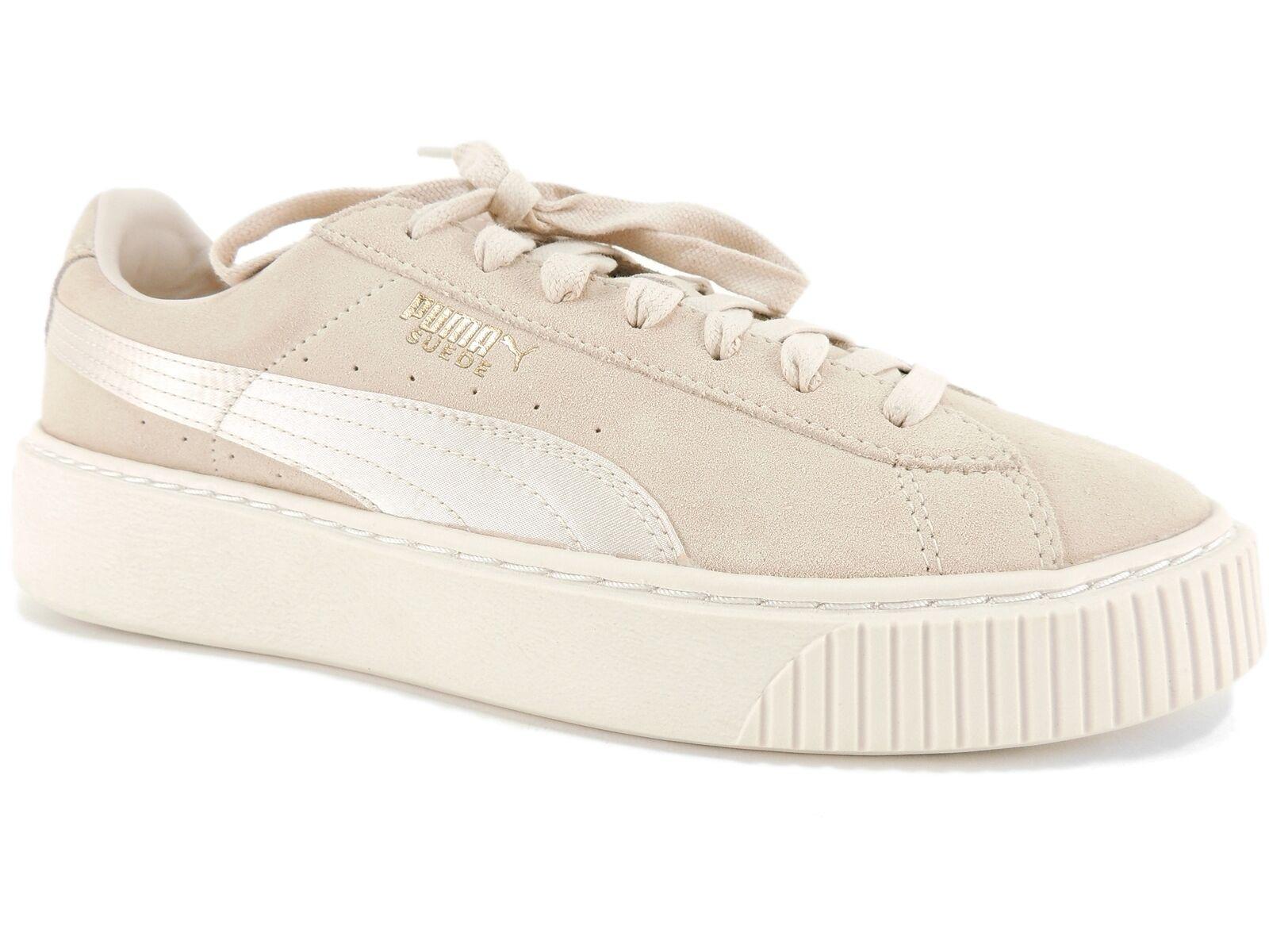PUMA Women's Suede Platform Mono Satin Sneakers Pink Tint-Whisper  White-Gold 10M