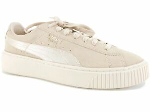 Details about PUMA Women's Suede Platform Mono Satin Sneakers Pink Tint Whisper White Gold 10M
