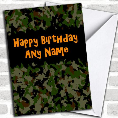 Army Camouflage Birthday Customised Card