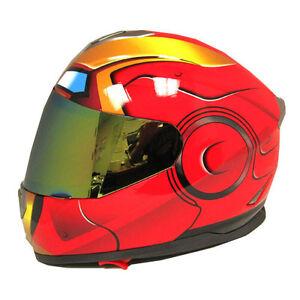 Iron-Man-Motorcycle-Bike-Dual-Visor-DOT-Full-Face-Helmet-Golden-Red-S-M-L-XL-XXL