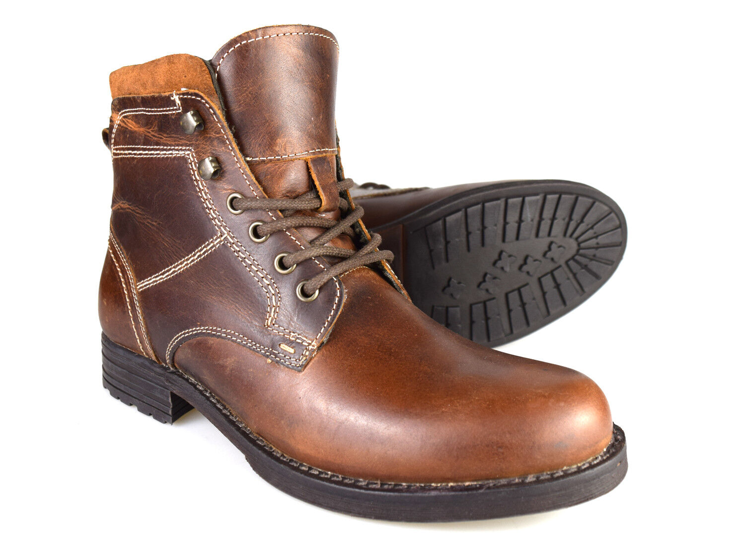 Red Tape Farley Men's Tan Brown Leather Worker Boots