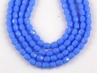 100pcs/3mm Opaque Light Blue Round Faceted Fire Polished Czech Loose Glass Beads