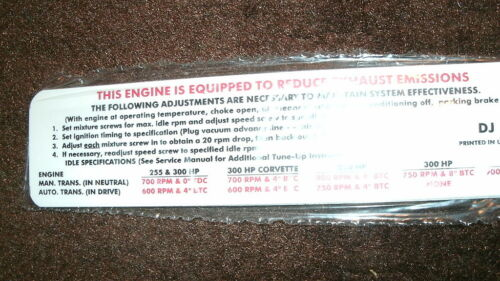 1969 CHEVROLET CORVETTE 350 CID V8 350HP ENGINE EMISSIONS DECAL LATE PRODUCTION