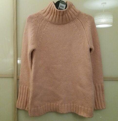 Bnwt Femme Comme neuf Velvet Entonnoir Cou Boxy Knit Pull Abricot Rose UK8 12 RRP £ 89