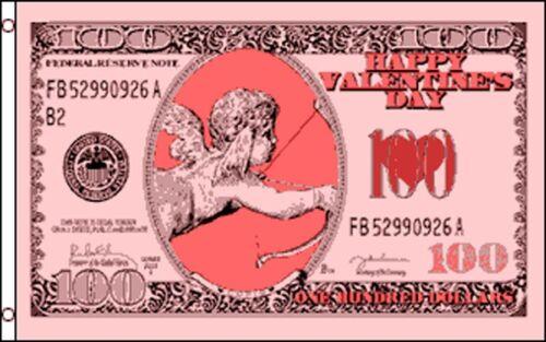 Cupid Money $100 Valentines Day Flag Banner 3/' x 5/' Polyester Dollar Bill