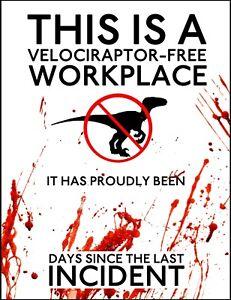 Jurassic World Danger Velociraptor Containment metal sign A4 plaque decor