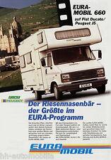 Prospekt Eura Mobil 660 Fiat Ducato Peugeot J5 Reisemobil 1994 Wohnmobil brochur
