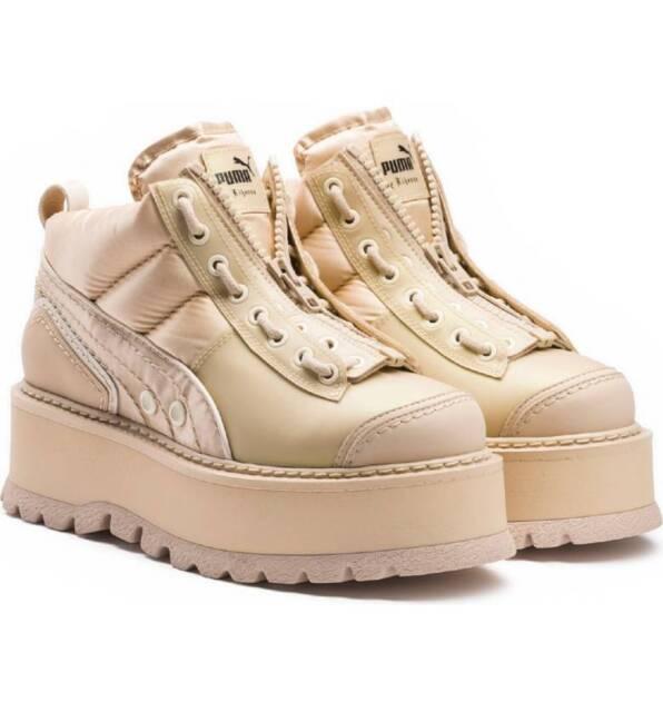 Puma suede pink strap platform sneakers