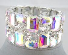 Wide AB Glass Crystal Stretch Bracelet Square Round  Silver Fashion Jewelry NEW