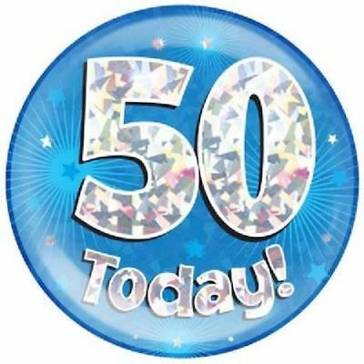 """6/"""" JUMBO BLUE 50 TODAY BIRTHDAY BADGE MENS NEW PARTY HOLOGRAPHIC PIN 50TH"""