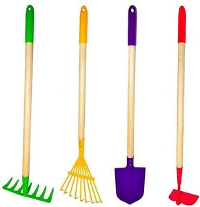 4 piece big kids lawn garden tool set rake hoe shovel for Gardening tools 4 letters