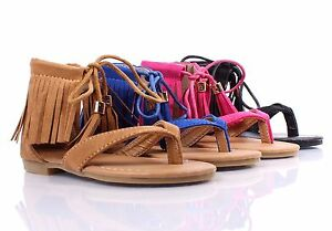 fd03ab15d988d Details about Youth Size Lace Tie Up Indian Style Fringe Kids Cute Girls  Gladiators Sandals