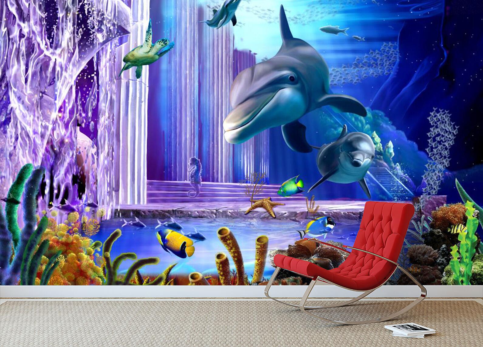 3D Riesige Delphin Fototapeten Wandbild Fototapete Bild Tapete Familie Kinder | Feinbearbeitung  | Sehen Sie die Welt aus der Perspektive des Kindes  | Billiger als der Preis