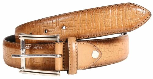 Mens Border Stitched Narrow 35 Mm Wide Leather Fold Silver Alloy Buckle Belts