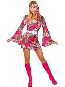 Ladies-60s-70s-Retro-Go-Go-Girl-Hippy-Hippie-Mini-Fancy-Dress-Costume-S-M-L-XL