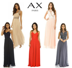 5f49a91ac38 AX Paris Womens Chiffon Maxi Dress Crochet Lace Top Neckline Ladies ...