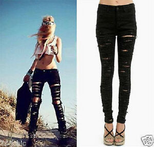 Black Destroyed Denim Pants Ripped High Waisted Stretch Skinny ...