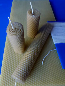Kit-for-making-natural-rolled-beeswax-candles-10-sheets-wick-amp-instructions