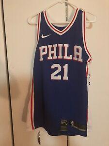 best service 70893 c4228 Details about Philadelphia 76ers Nike Swingman Jersey Joel Embiid  864501-487 New With Tags NBA