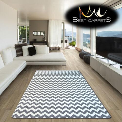 Amazing épais moderne tapis sketch zig zag gris blanc F561 grande taille best-tapis