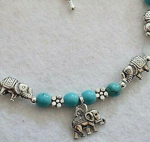 Lucky Elefante Daisy Flor de piedras preciosas de color Turquesa Boho Tobillera//Pulsera de tobillo