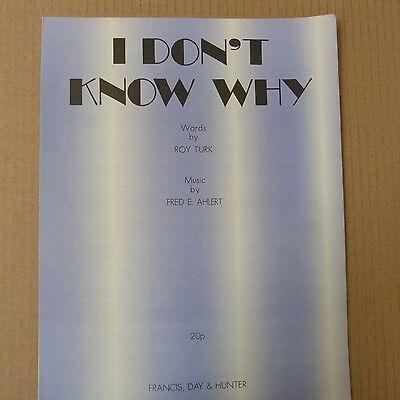 Heerlijk Song Sheet I Dont Know Why Fred E. Ahlert Aangenaam Om Te Proeven