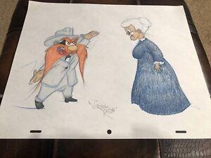 "Virgil Ross Sketch - Yosemite Sam And Granny. Signed 12.5x10.5"""