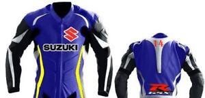 BLEU-SUZUKI-GSXR-Cavalier-Cuir-Veste-Cuir-Biker-Veste-MOTOGP-Moto-Cuir-Veste