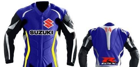Motogp Bleu Cavalier Veste Cuir Biker Idh2ye9w Moto Suzuki Gsxr RLjq354A
