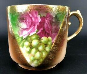 Antique unmarked Bavaria Austria Cup Gold Gilt Painted Rose Grapes Porcelain VTG