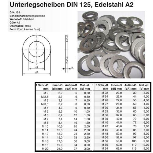Unterlegscheiben Scheibe U-Scheibe DIN 125