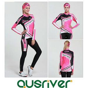 Women-Cycling-Bicycle-Bike-Clothes-Long-Sleeve-Jersey-Pants-Trousers-Set-Paded