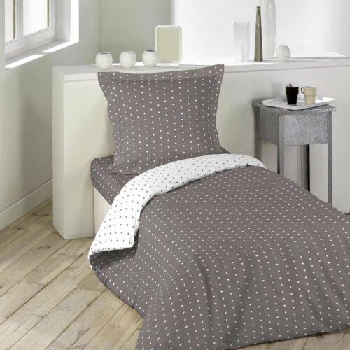 Douceur d/'int Pixa Bettbezug mit Kissenbezug Baumwolle Taupe//Weiß 140 x 200 cm