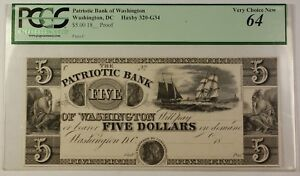 18-Proof-5-Note-Patriotic-Bank-Washington-DC-Haxby-320-G34-PCGS-Very-Ch-64-RS