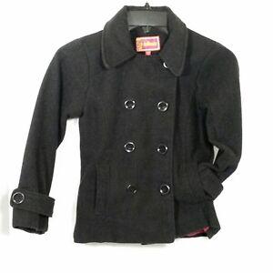 Rothschild Girls Black Baby Doll Faux Wool Peacoat