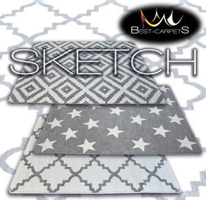 AMAZING-THICK-MODERN-RUGS-SKETCH-GREY-WHITE-10-Pattern-LARGE-SIZE-BEST-CARPETS