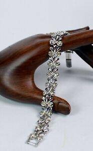 Vintage-Monet-Silver-Tone-Bow-Rhinestone-Bracelet