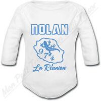 Body Bébé Ile De La Réunion Bleu Avec Prénom Ou Texte Personnalisé