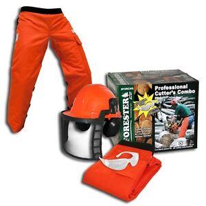 ORANGE-SAFETY-CHAPS-HARD-HAT-EAR-MUFFS-GLASSES-3-Piece-Combo-Safety-Kit