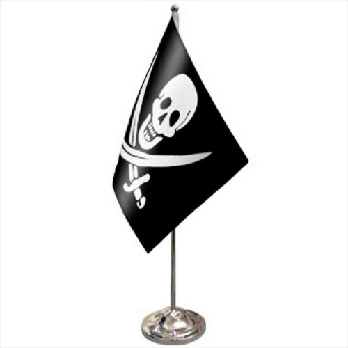 Pirate Skull Calico Jack Rackham Satin /& Chrome Premium Table Flag