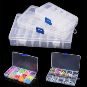 10//15//24 Compartments Plastic Box Jewelry Bead-Storage Container DIY Organizer