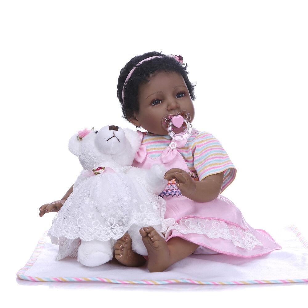 22  Reborn Bambino Bambina Bambola Giocattolo Nero africano etnico nascono i bambini regalo