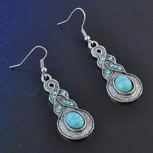 Vintage-Women-Jewelry-Turquoise-Crystal-Tibetan-Silver-Hook-Dangle-Earrings-Gift
