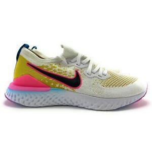 Nike-Men-039-s-Epic-React-Flyknit-2-White-Black-Pink-Blast-Running-Shoes-Size-13