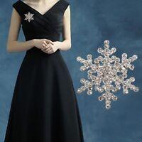 Crystal Silver Pearl Rhinestone Xmas Broach Pin Snowflake Diamante Brooch Gift