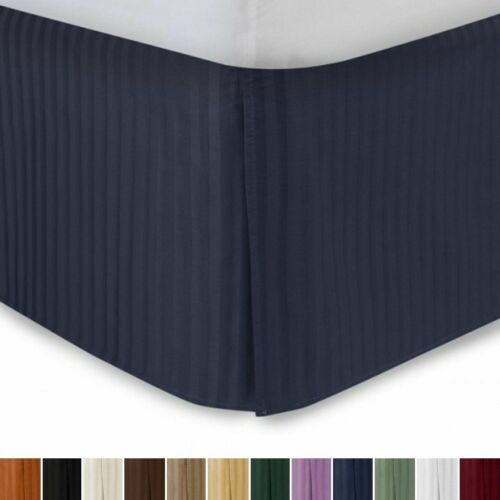 Details about  /1000 TC Pima Cotton Box Pleat Bedskirt Bed Valance Navy Blue Stripe