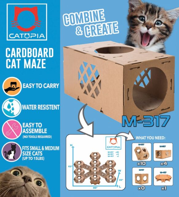 Cat Tower Diy Corrugated Cardboard Rta Self Assembly 5pc Castle For Sale Online Ebay